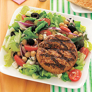 burgers with greek salad